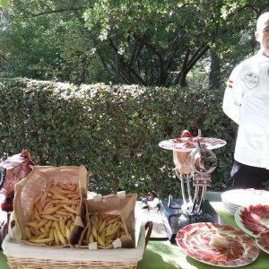 Catering evento jamon Ibedul de mesa de temporada
